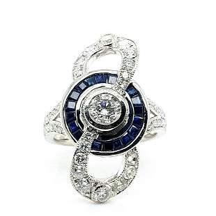 Certified Platinum Sapphire & Diamond Ring