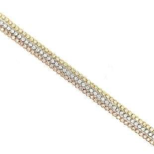 Certified 18K Tri-gold Diamond Tennis Bracelet