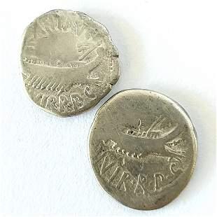 Two (2CT) 44-31 BC Mark Antony Legionary Denarius