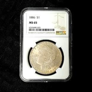 1886 Morgan Silver Dollar NGC MS65 Toned