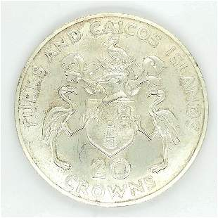 1974 TURKS AND CAICOS 20 CROWNS SILVER CHURCHILL