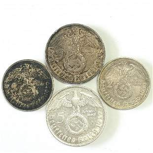 Germany 1934 2 Mark and Five Mark coins 2 of Each