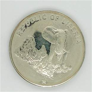 1974 Liberia PF $5 Dollar.900 Silver Elephant KM29
