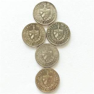 5 count Uncirculated Silver 1949 Cuba 20 Centavos