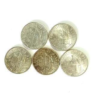 Five (5ct.) 1952 Cuba 20 Silver Peso Coins Unc.