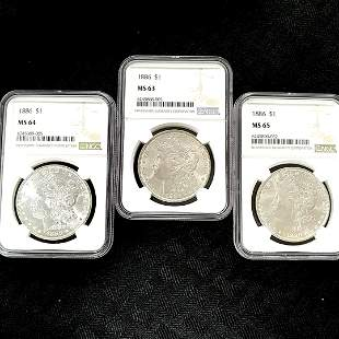1886 Morgan Dollar 3 Coin Grading set NGC MS63-65
