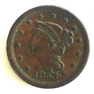 1853 Braided Hair Large Cent Very Nice Coin Ch VF