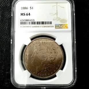 1886 Morgan Silver Dollar NGC MS64 Toned