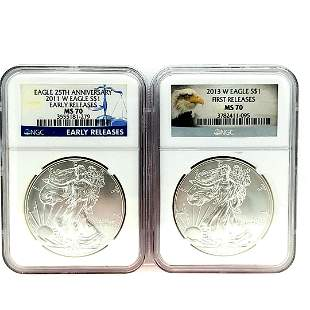 2011 & 2013 W Silver Eagles Both Coins NGC MS70