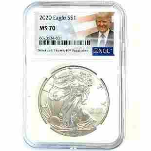 2020 American Silver Eagle NGC MS70 Donald J Trump