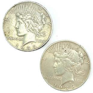 1935 S and 1935 P Silver Peace Dollars XF+