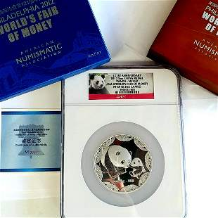 2012 China 5OZ ANA Panda Silver Coin NGC PF69