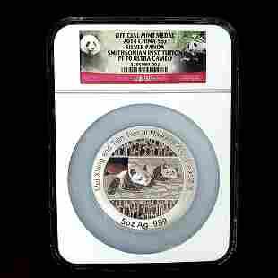 2014 5OZ China Panda Silver S. I. Medal NGCPF70