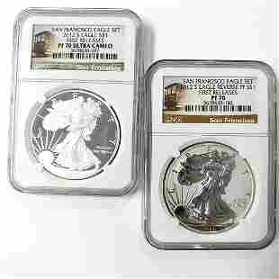 2012 S Two (2CT) Silver Eagles Rev.PF NGC PF70 ER