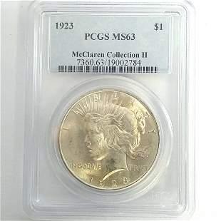 1923 Silver Peace Dollar PCGS MS63