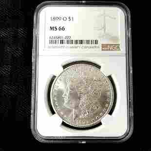 1899 O Morgan Silver Dollar NGC MS66