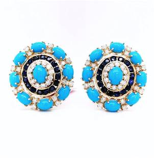 Certified 14K Gold Sapphire and Turquoise Earrings