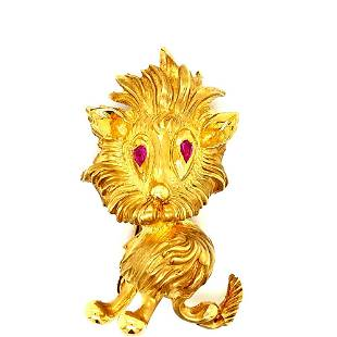 Tiffany & Co 18K Yellow Gold Owl with Emerald Eyes