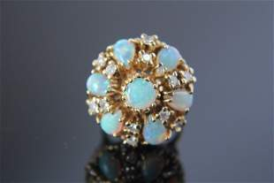 Vintage 1970s 14k Gold and Opal Cocktail Ring