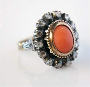 Vintage Coral and Rose-Cut Diamond ring