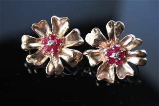 Circa 1940s era, 14k rose gold 5.2dwt Ruby Earrings