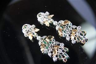 Circa 1950s era Diamond, Ruby & Emerald Earrings
