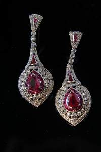 Regency Deco 18k White Gold Ruby & Diamond Earrings