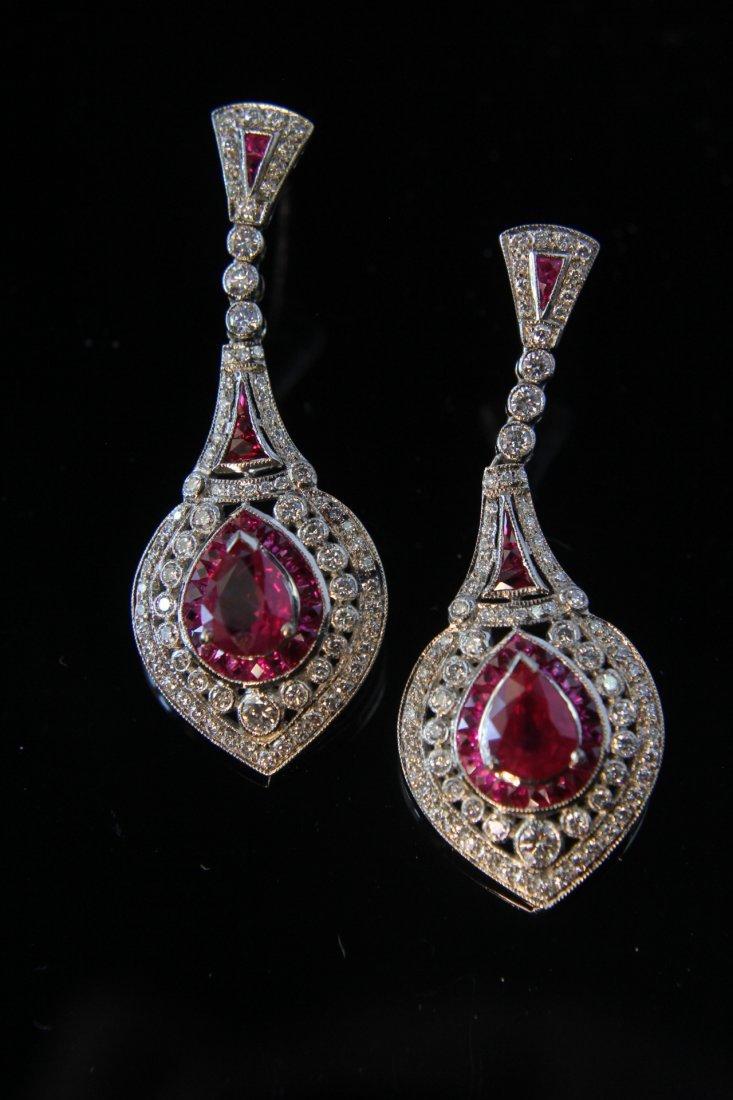 Regency Deco 18k White Gold Ruby & Diamond Earrings