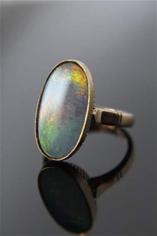Vintage Oval Grey Opal 14k Gold Ring
