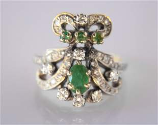 Ottoman 14k and Emerald Turkish Style Ring