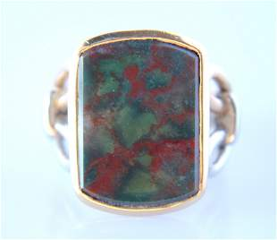 1940s Bloodstone Ring with 14k two tone setting
