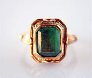 10k Yellow Gold,emerald and Cameo Flip Ring