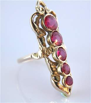 14k Art Nouveau Ring Set With Fine Natural Rubies