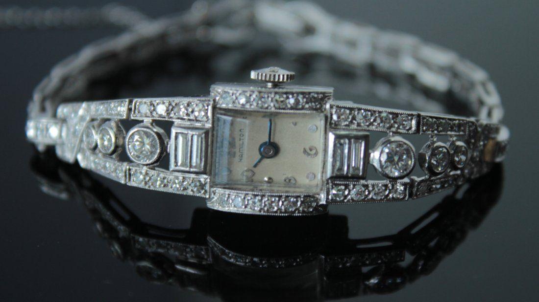 Platinum Diamond Watch Circa 1920s-30s Era