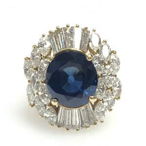 Sapphire and Diamond Ballerina Ring,18k Yellow Gold