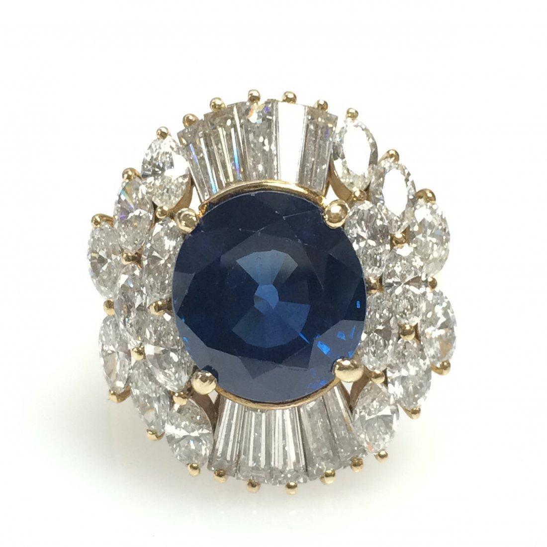 Sapphire and Diamond Ballerina Ring,18k Yellow Gold
