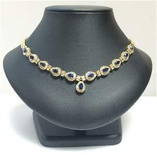 Sapphire & Diamond Necklace, 14kt Yellow Gold