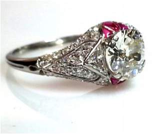 18k White Gold Ruby and Diamond Engagement Ring