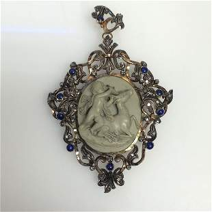 Rare Lava Cameo Cherub Circa 1850's - highly detailed