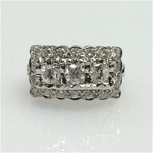 14k White Gold Edwardian Three Stone Cluster Ring