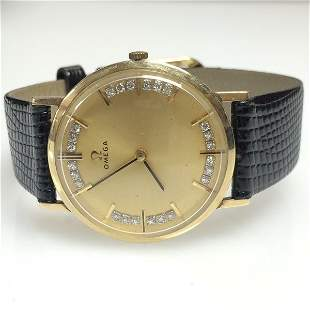 Gents Omega Watch 14k Yellow Gold & Diamond