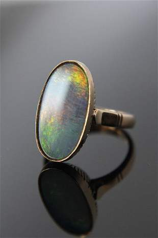 Vintage Oval Ammolite 14k Gold Ring