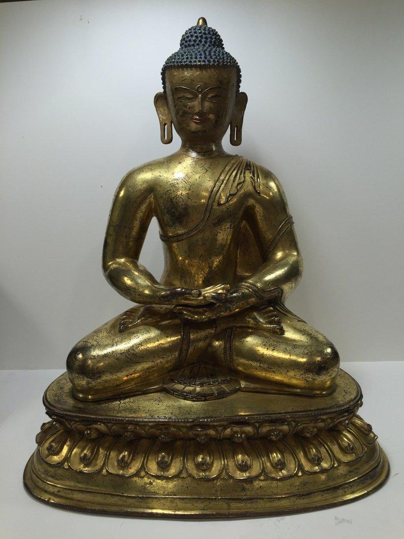 Ming Dynasty or Early Tibet Gilt Bronze Buddha
