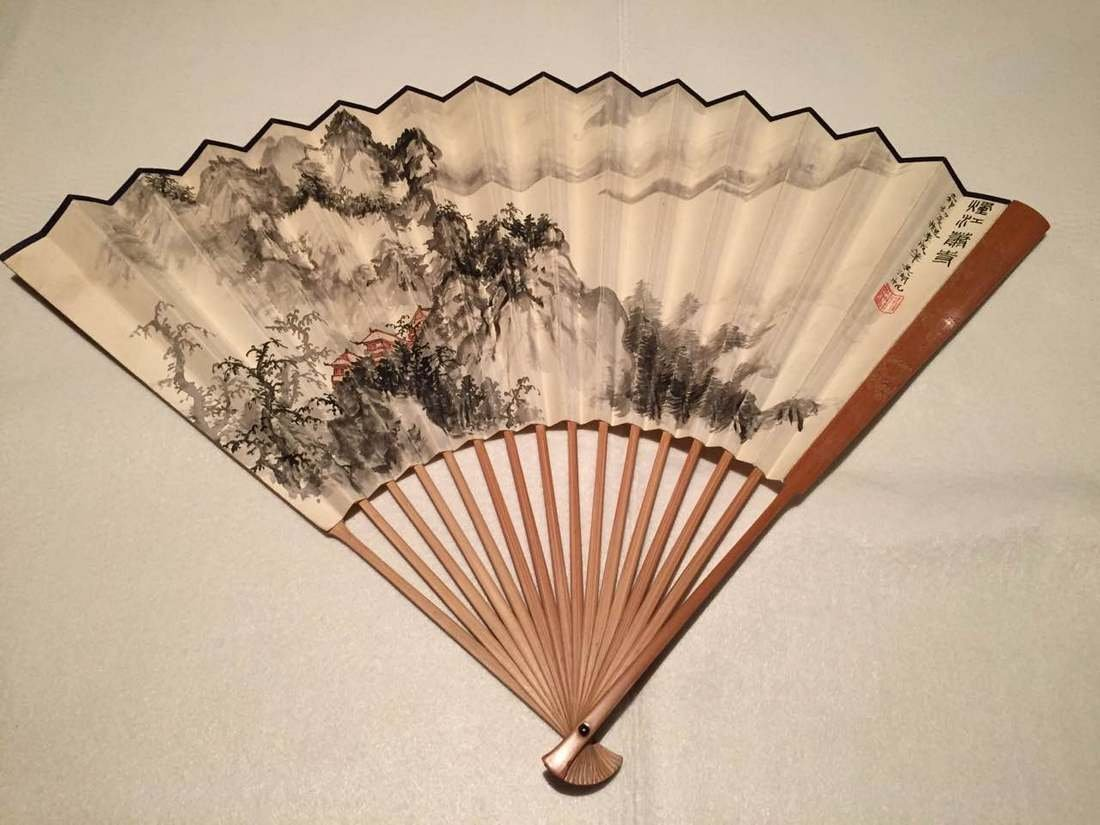 Chinese Fan with Wu Hu Fan Calligraphy and Painting