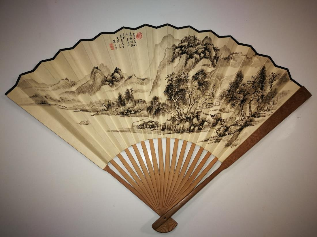 Old Chinese Fan with Painting and Calligraphy