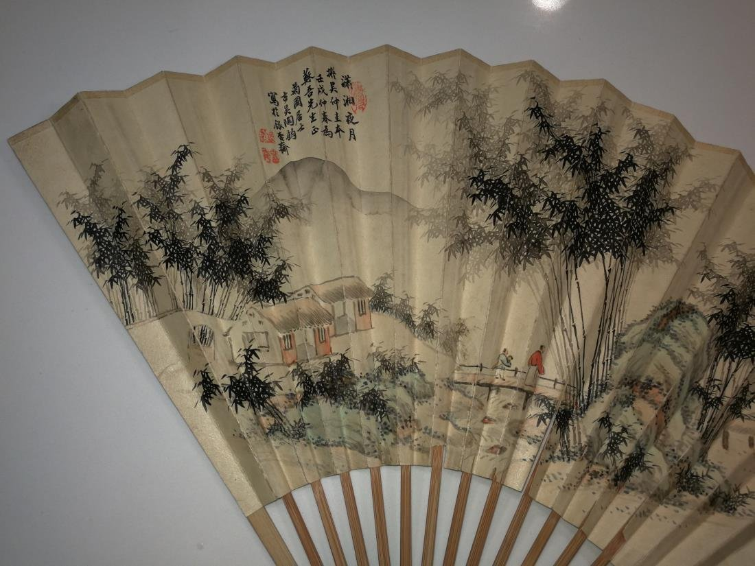 Old Chinese Fan with Painting and Calligraphy - 4