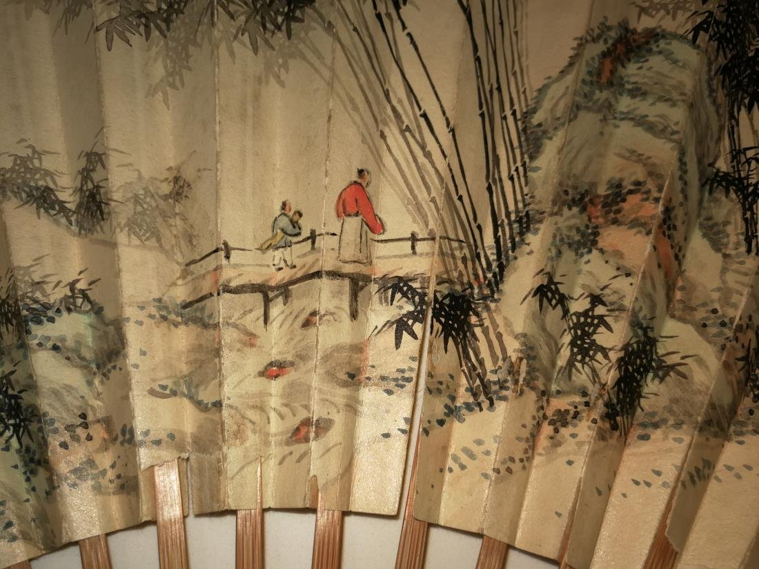 Old Chinese Fan with Painting and Calligraphy - 5