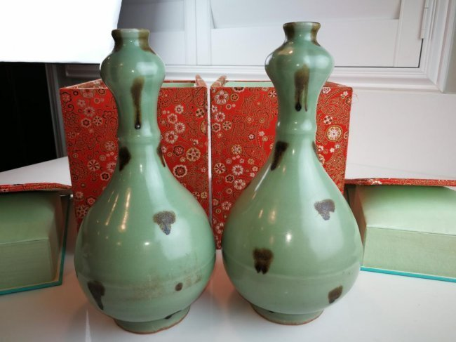 Pair of Ancient Chinese Porcelain Bottles