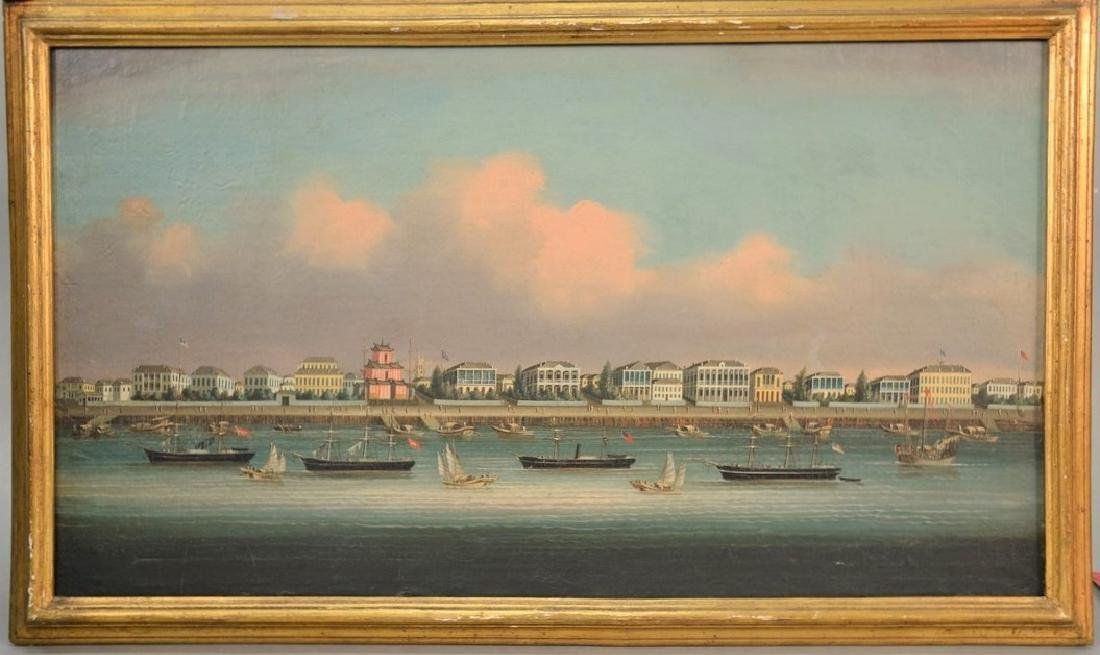 Qing Dynasty Chinese Oil Painting Shanghai Bund