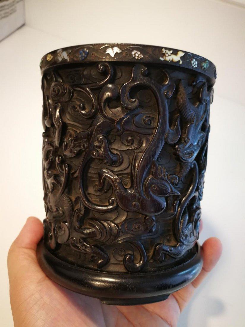 Rare Antique Chinese Zitan Carving Brushpot - 4